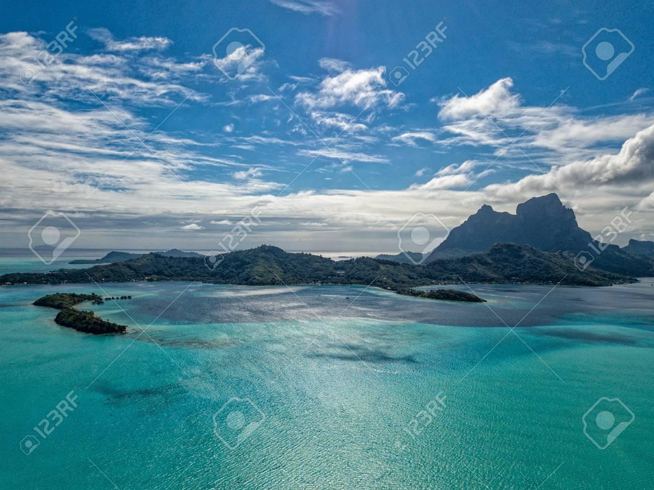 Bora Bora Island French Polynesia Lagoon Aerial View Panorama