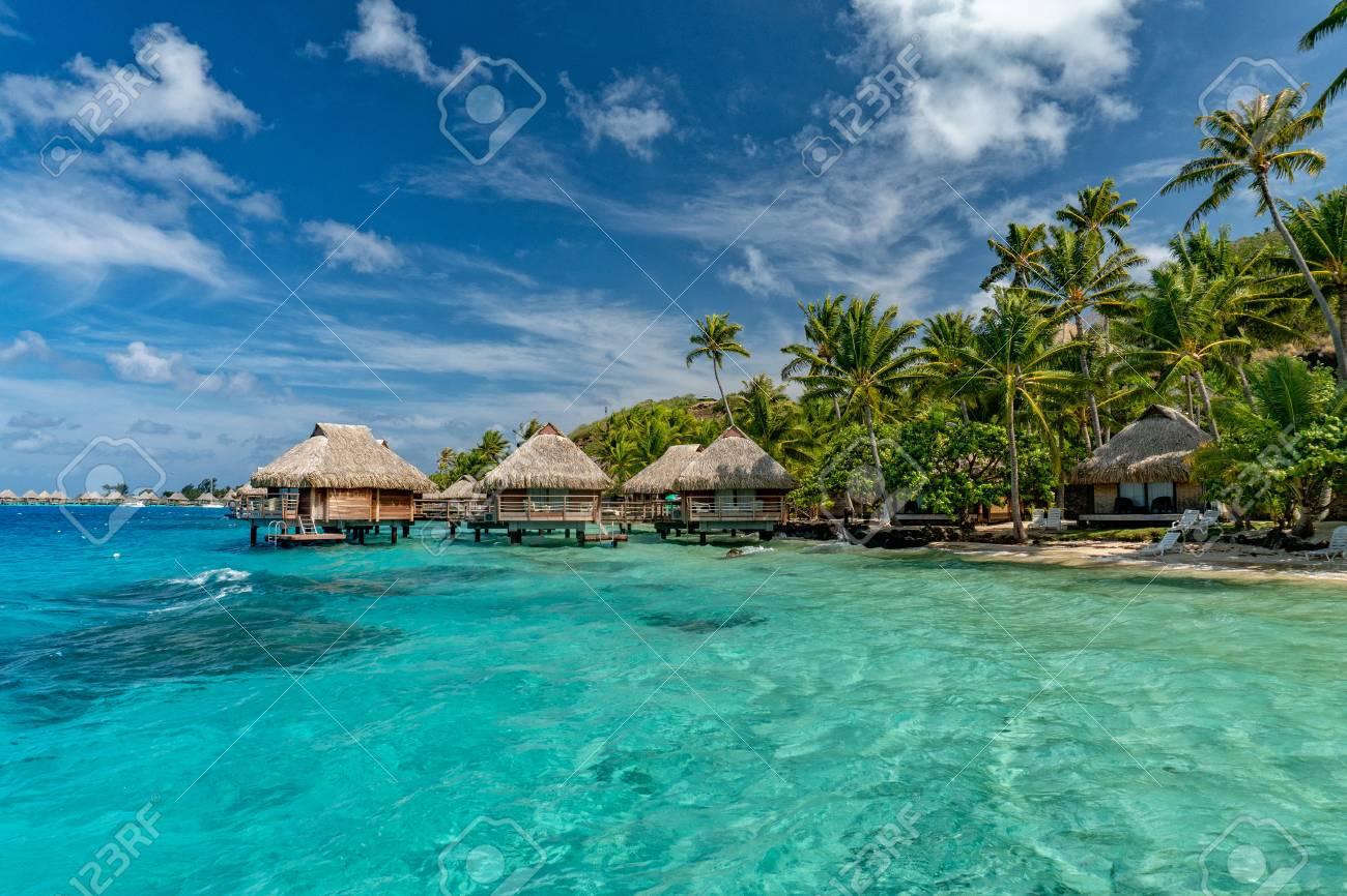 bora bora island french polynesia aerial airplane view panorama landscape, overwater bungalow - 110175727