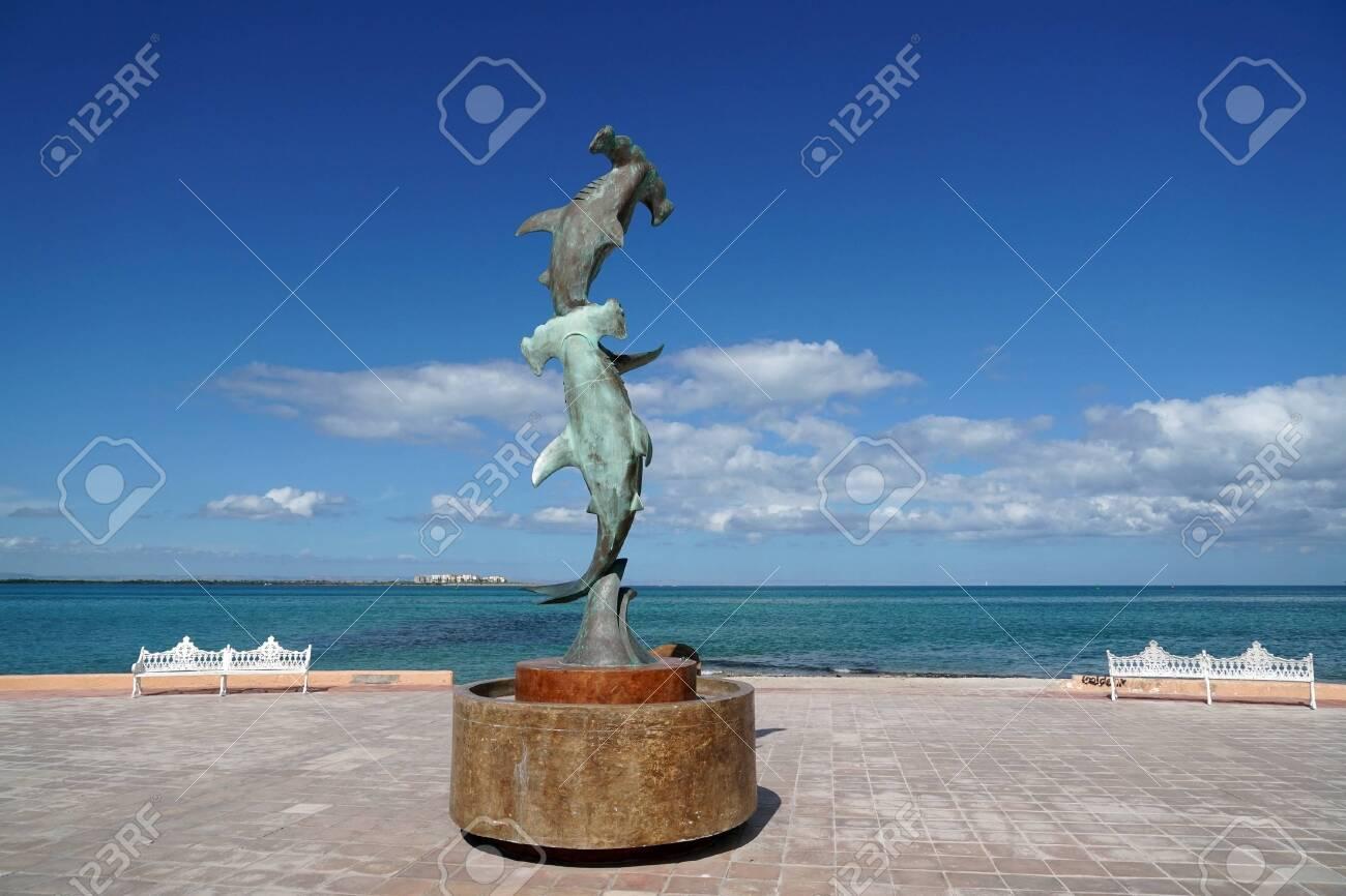 La Paz Baja California Sur, Mexico beach near the sea promenade called Malecon hammered shark statue - 114273379