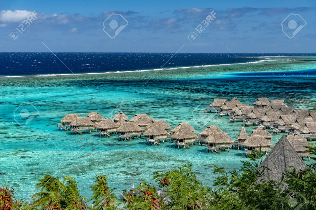 Overwater Bungalow On Moorea Lagoon View On Tahiti French Polynesia