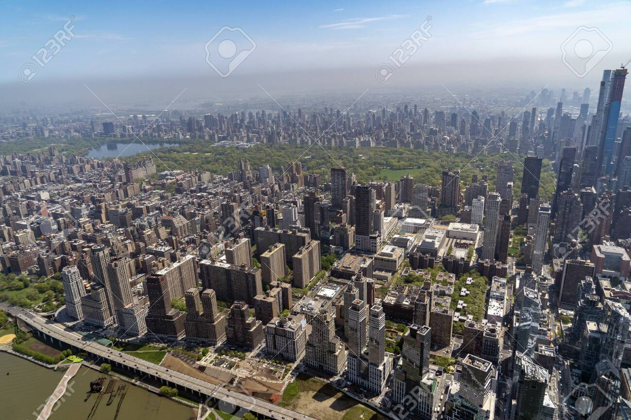 new york city manhattan central park panorama aerial view from helicopter - 142800962