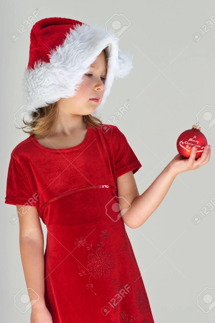In Weihnachten Kleines Rot Lizenzfreie Roten Kleid Ball Mit Mädchen OPnXN0w8k