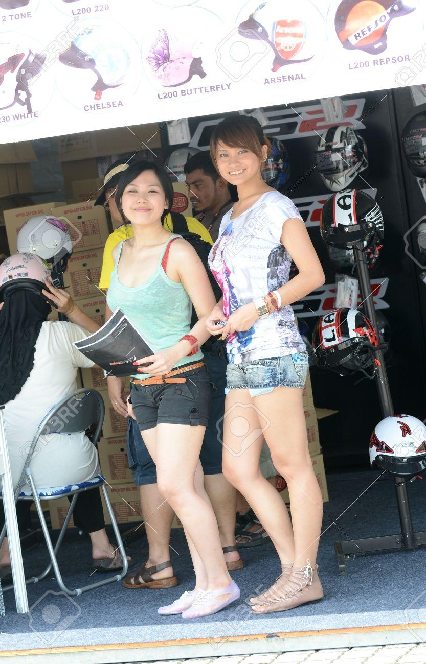 sepang, malaysia - oct 21: unidentified motoshow girl as model