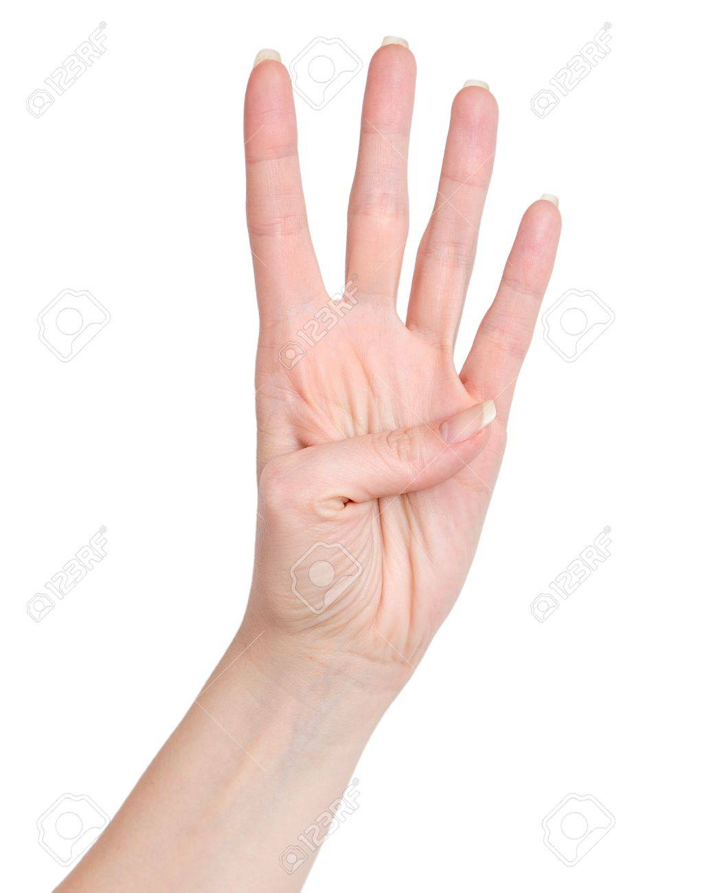 Female Hand Showing Four Count. Four Fingers Stock Photo, Picture ...