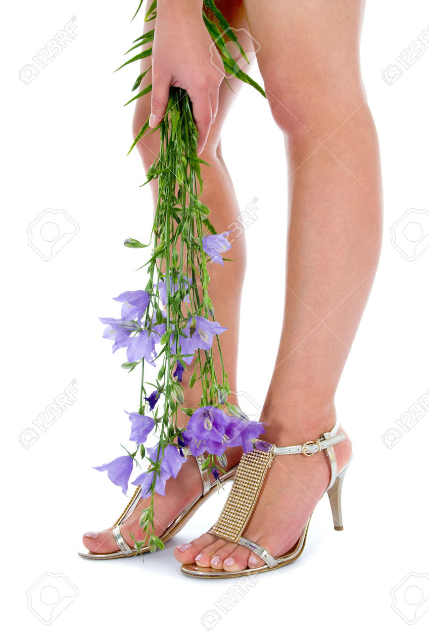 Long legs on high heels with flowers on white stock photo picture long legs on high heels with flowers on white stock photo 5082597 mightylinksfo