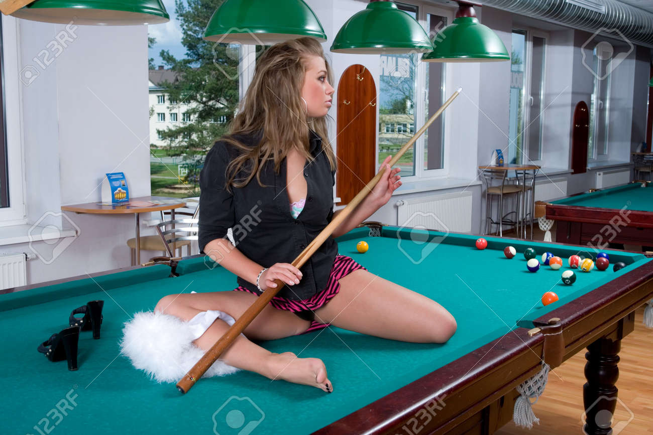 Young Girl In Short Skirt Playing Snooker Stock Photo, Picture And ...