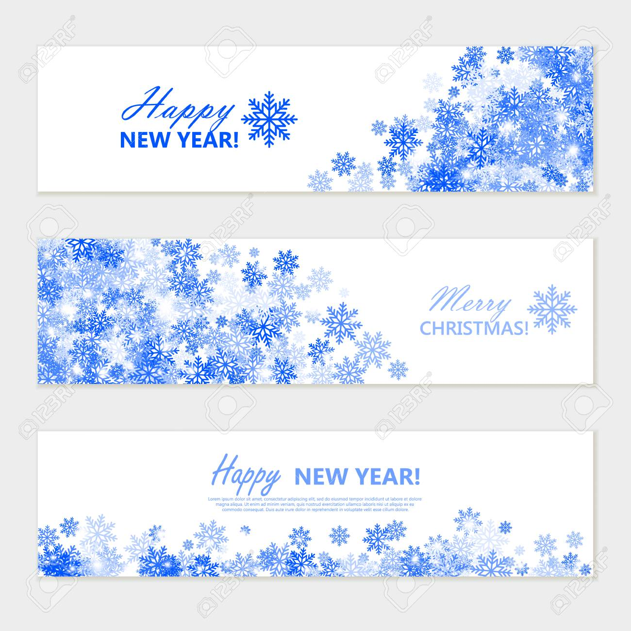 10++ Blue Merry Christmas And Happy New Year Banner