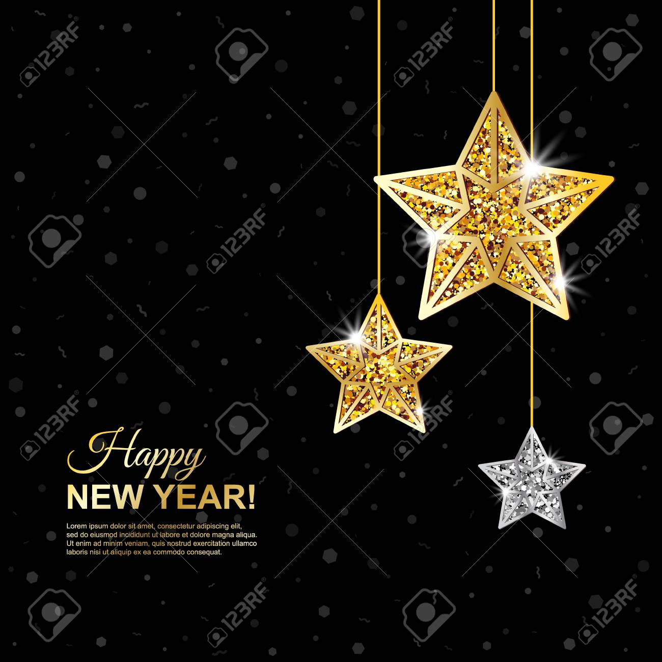 Merry Christmas And Happy New Year Glowing Banner Glitter Black Background With Hanging Gold