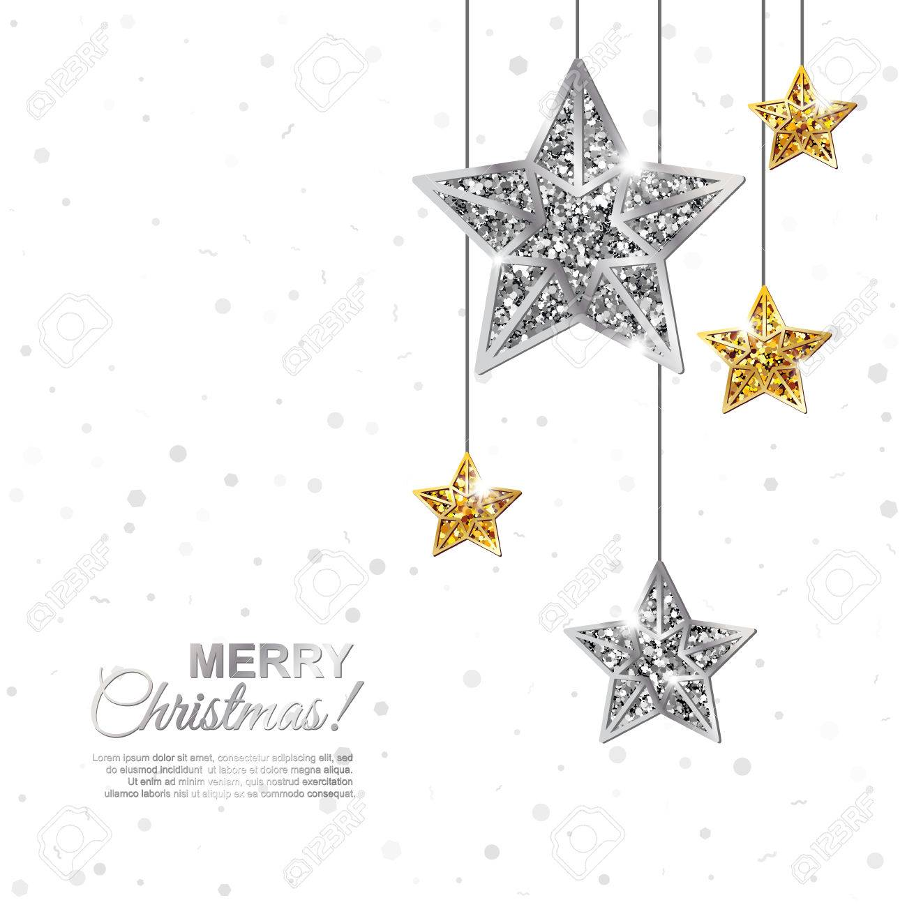 merry christmas and happy new year glowing banner glitter white background with hanging gold and