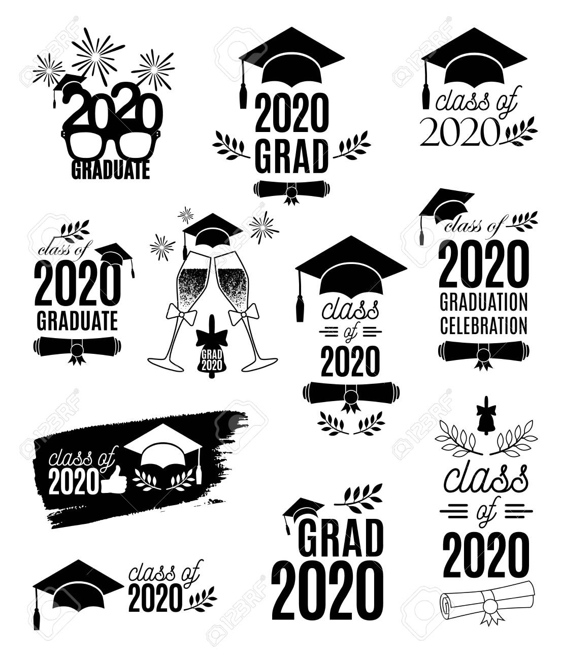 Graduate 2020 Labels Design Set Concept For Shirt Print Seal Royalty Free Cliparts Vectors And Stock Illustration Image 147459024