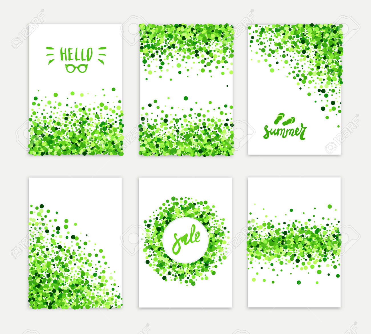 Summer sale vector creative six greeting card set of green round particles. Scattered confetti circles. All isolated and layered - 165418776