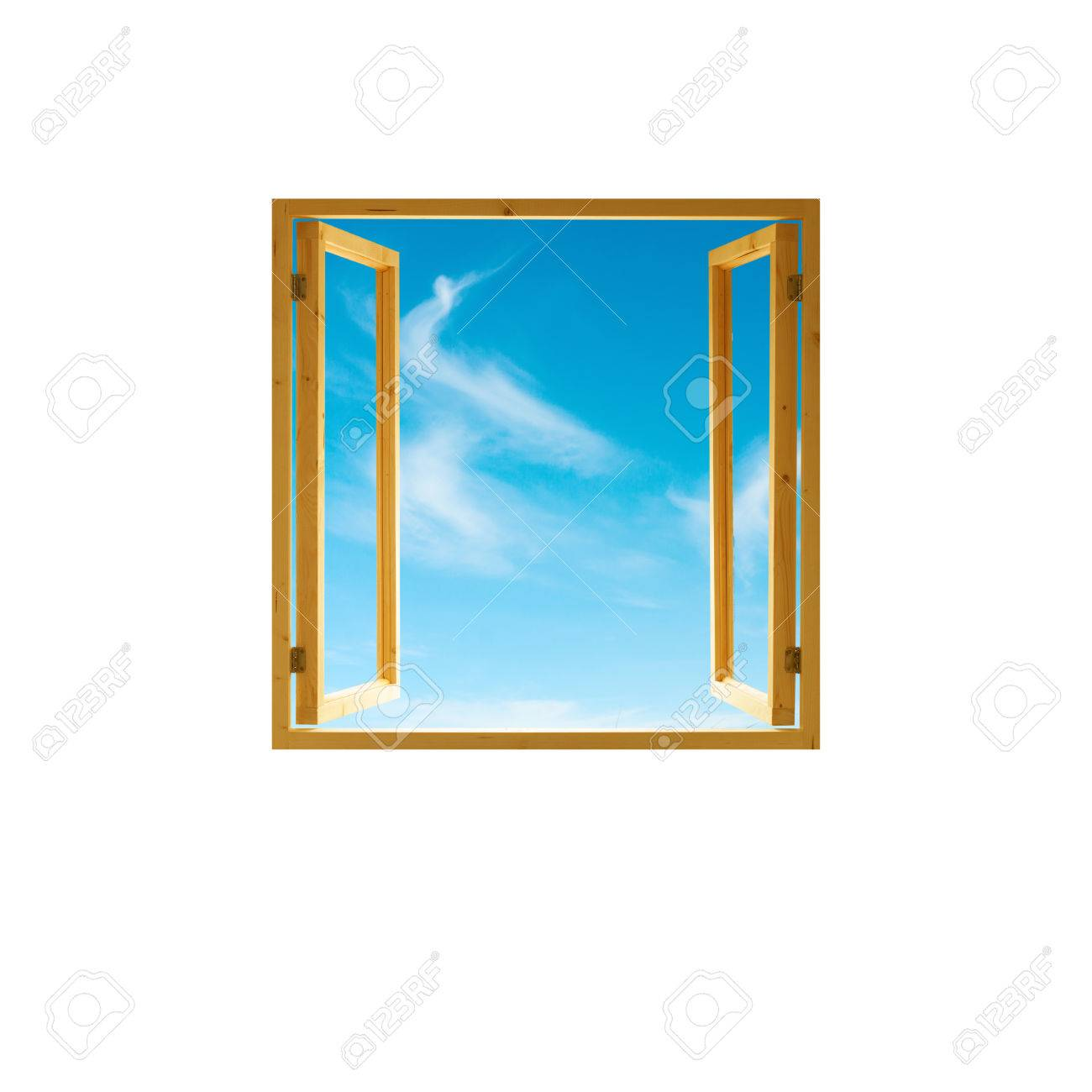 Window Frame, Open Wooden, Sky View, Isolated On White Background Imagens    43699789
