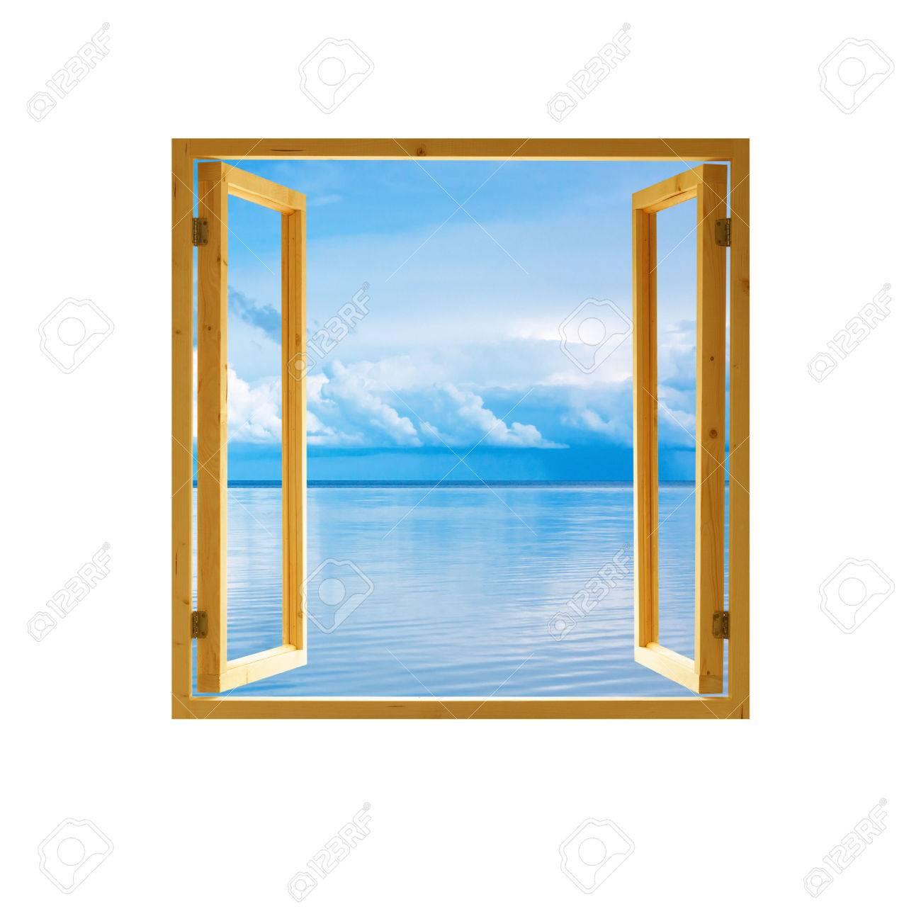 Rahmenfenster Geöffneten Hölzernen Himmel Wasserwolken Sehen ...