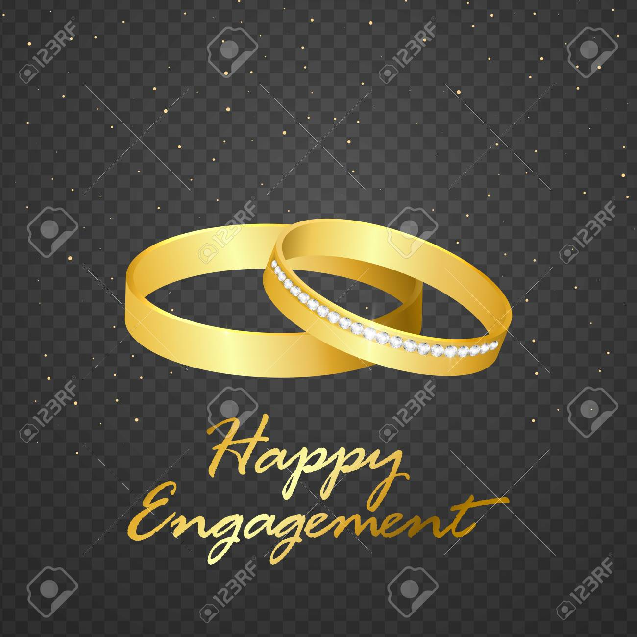 Wedding Ring Gold On Transparent Background Isolated Vector