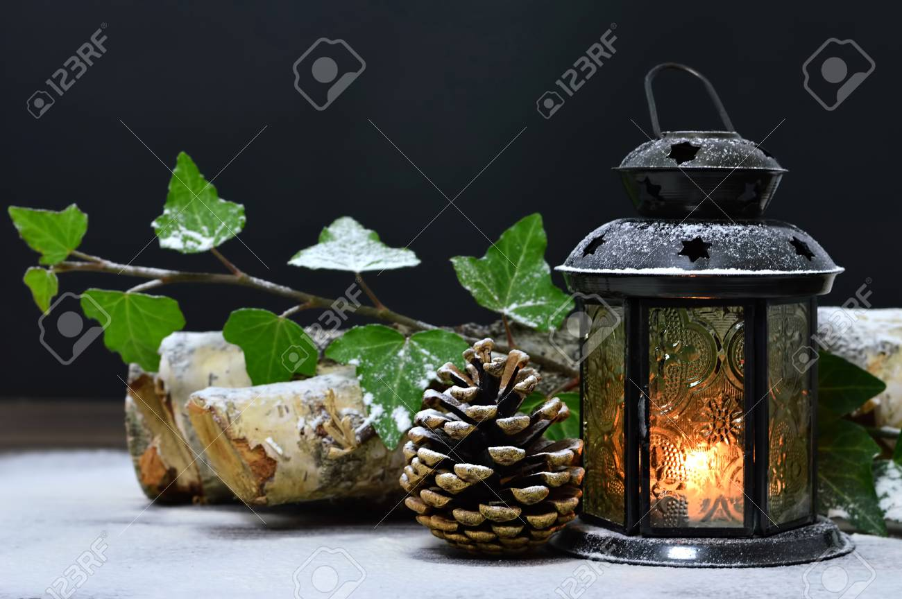 Christmas Lamp And Natural Christmas Decoration Stock Photo, Picture ... for natural oil lamp decorations  45hul