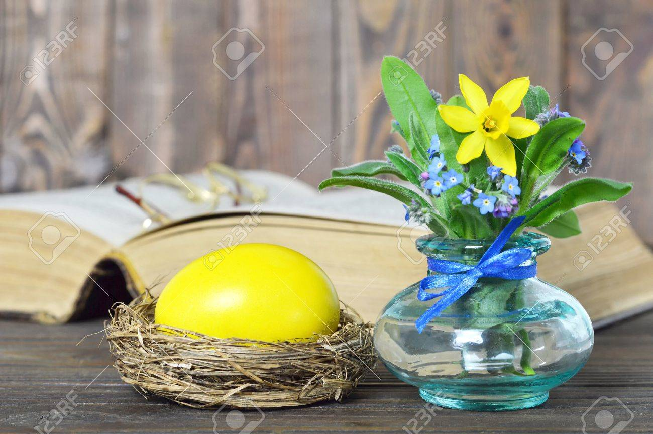 Easter Card With Yellow Easter Egg And Spring Flowers Stock Photo