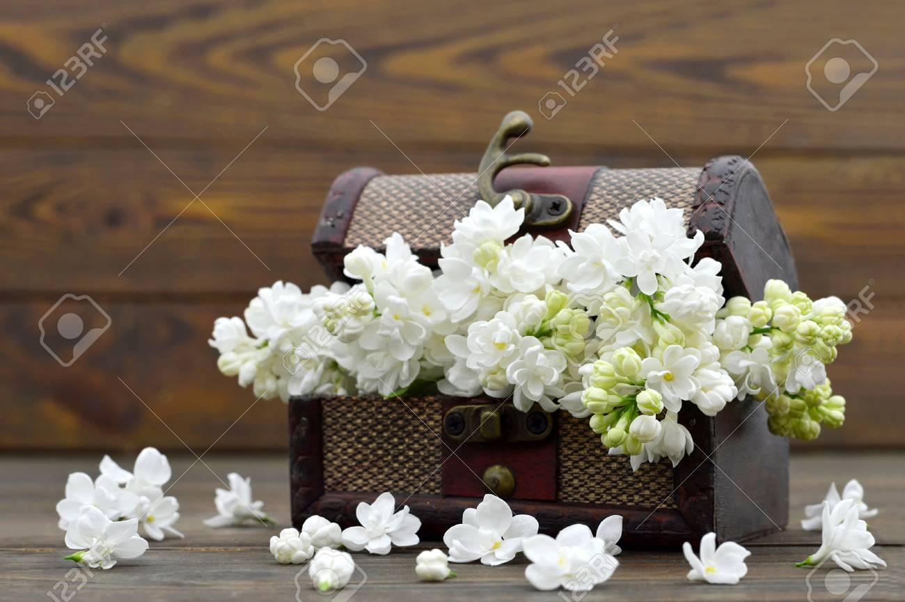 Hochzeitsdekoration Weisse Blumen In Der Vintage Truhe Aus Holz
