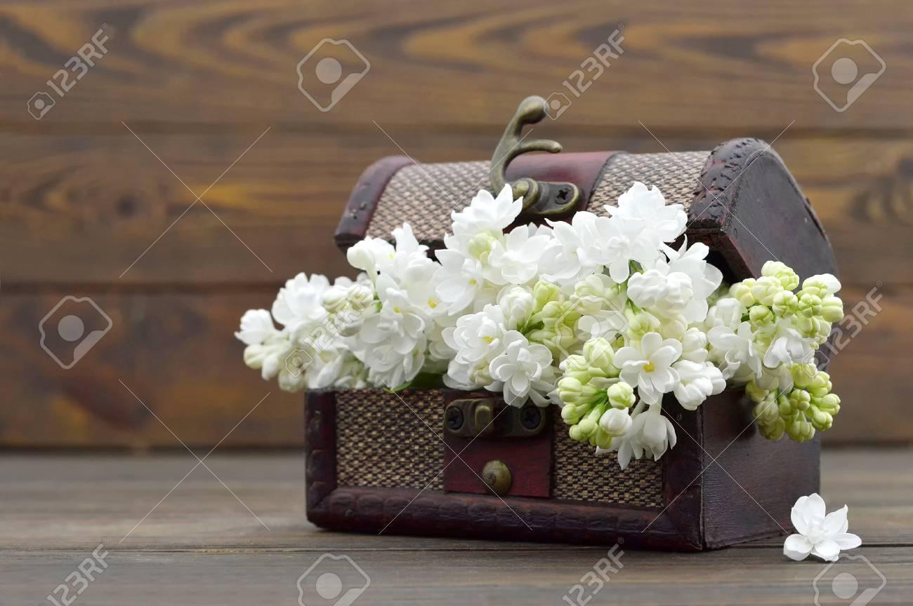 Banque d\u0027images , Carte d\u0027anniversaire heureux avec des fleurs blanches  dans un coffre au trésor vintage
