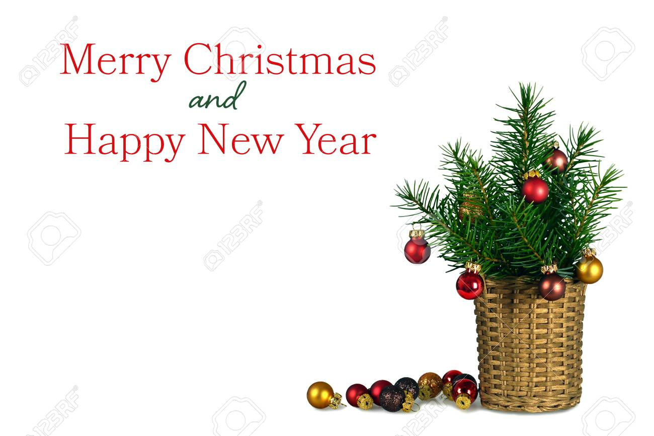 Merry Christmas And Happy New Year Card With Christmas Decoration ...