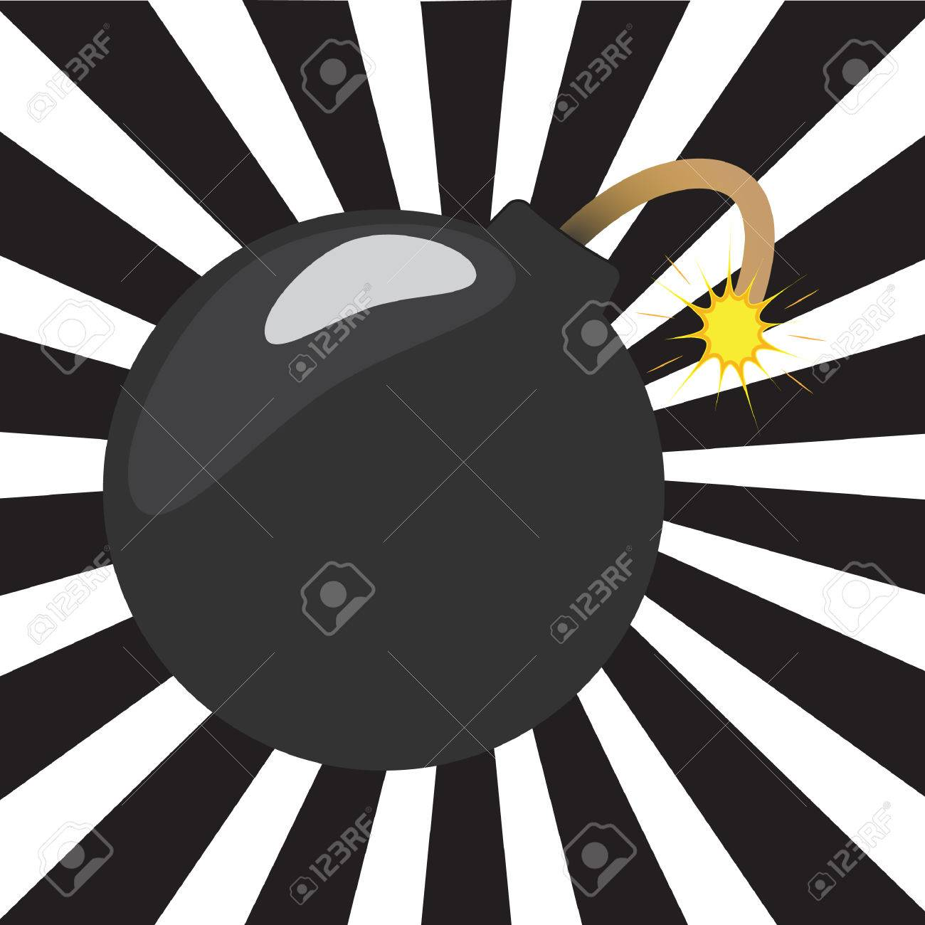 Cartoon bomb with a black and white sunburst background Stock Vector - 24710603