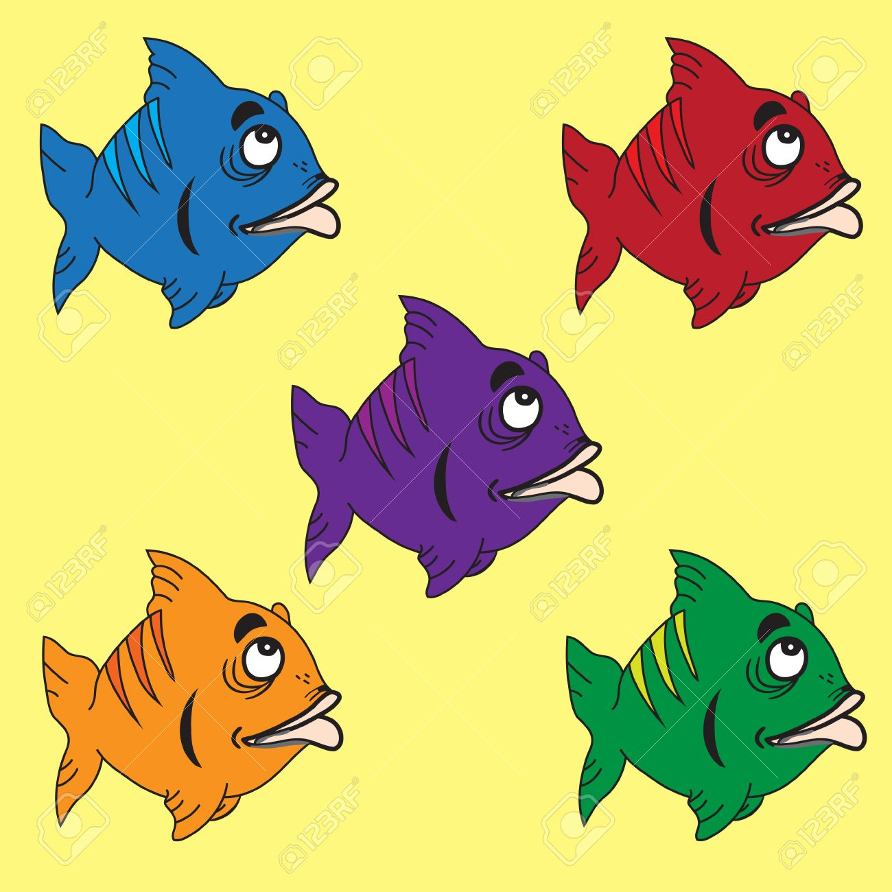 - Cartoon Fish In 5 Colour Combinations On A Yellow Background