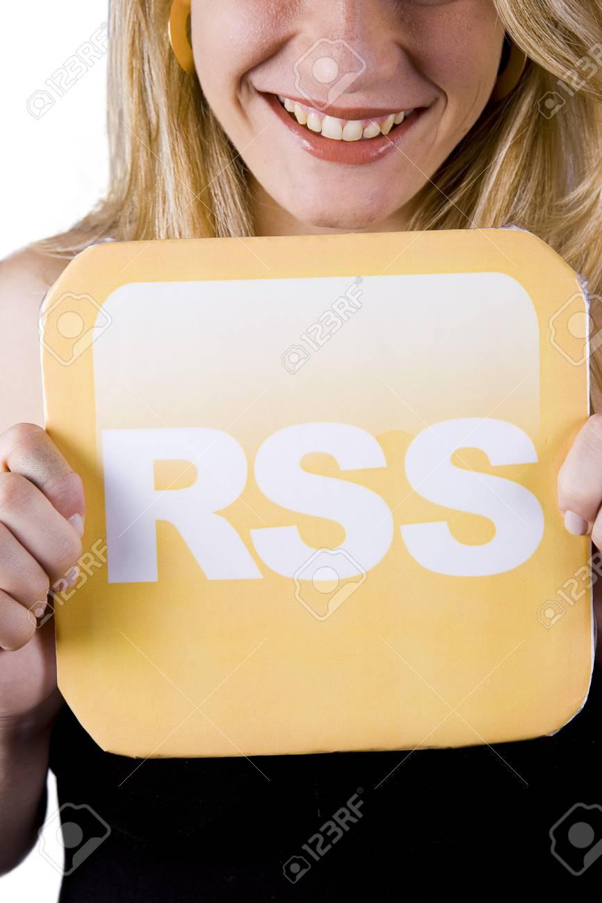 beautiful blond woman holding a rss logo Stock Photo - 4303840