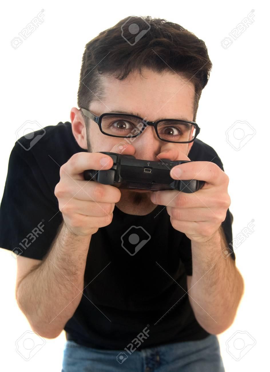 Goofy Vidéo Gamer, Isolé Sur Fond Blanc Banque D Images Et Photos ... 849200552c34