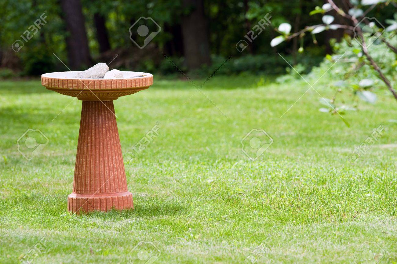 A Modern Terra Cotta Bird Bath In A Nicely Landscaped Yard Stock Photo   11110839