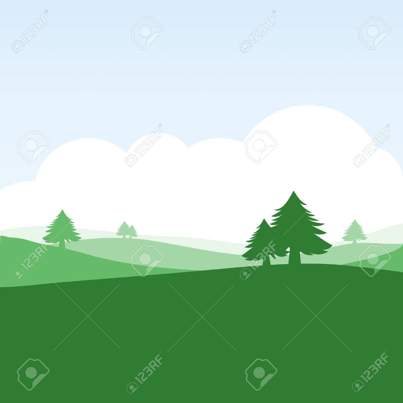 colorful silhouette landscape of countryside for graphic design and website - 36623412