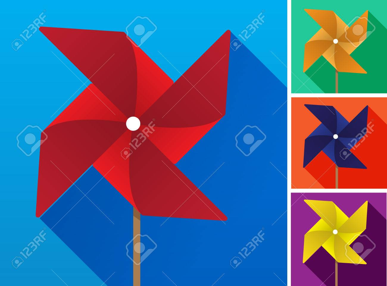 Multicolored Toy Paper Windmill Propeller Set On Backgrounds Of Different Colors Vector Illustration Stock