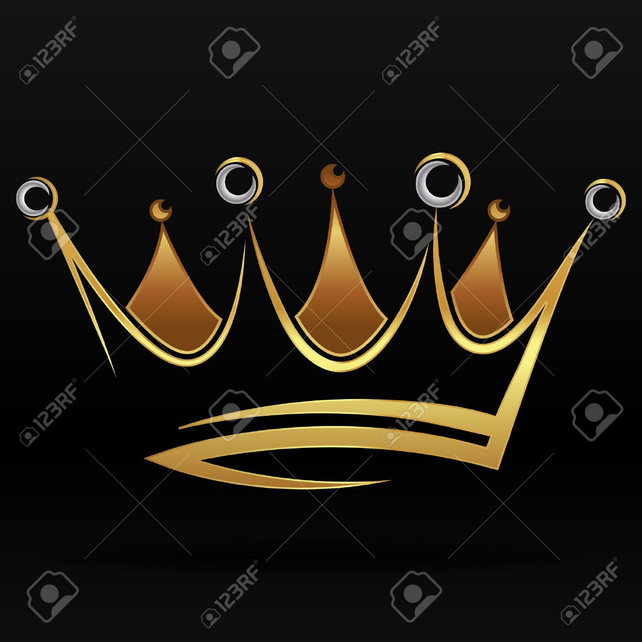 Gold abstract crown for graphic design and logo on black background - 49902291