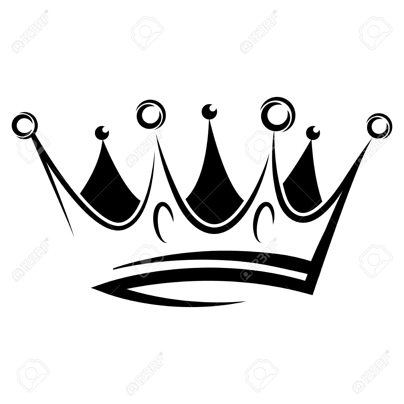 Black abstract crown for graphic design and logo on black background - 48691815