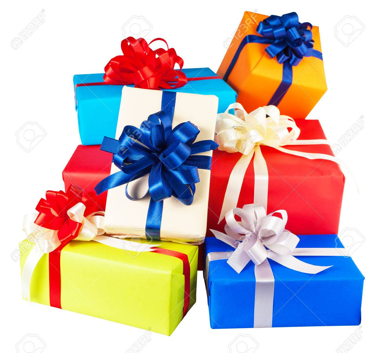 Piles of gift boxes wrapped in colorful paper, ribbon, bow ,Isolated on white. for anniversary, new year, birth day - 49248215