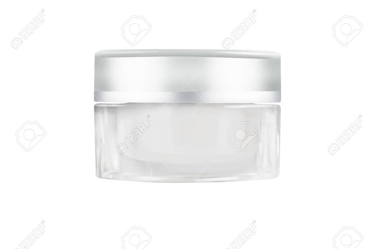 Blank white facial cream jar isolate on white background - 49248772
