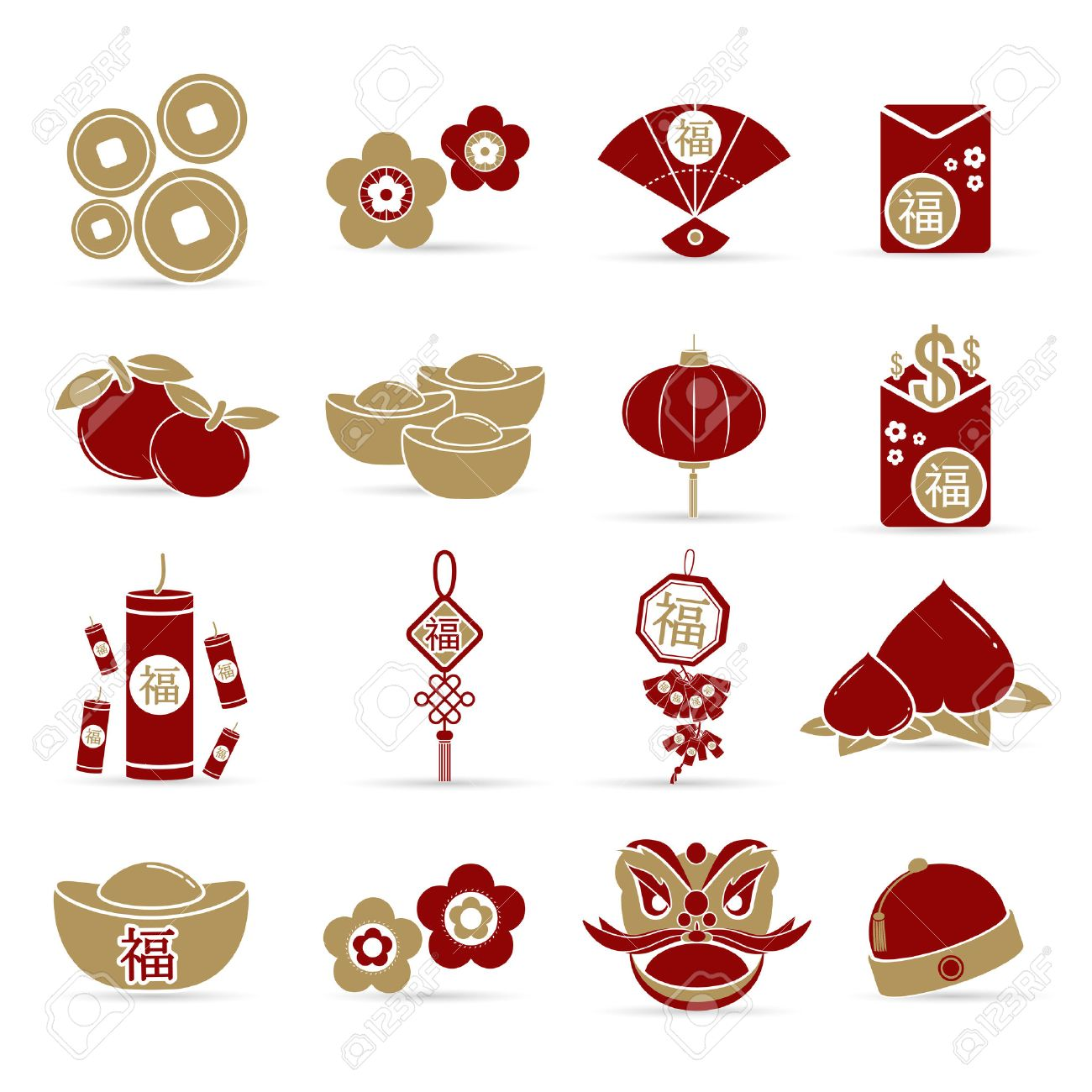 Chinese New Year Elements With Text And Pattern Background