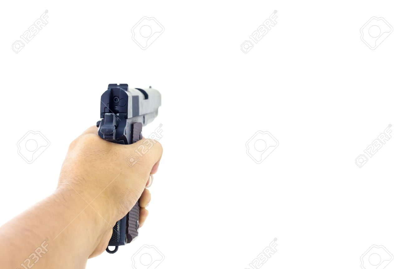 Hand holding a handgun. Isolated first person view hand holding a handgun on white background. - 55213858