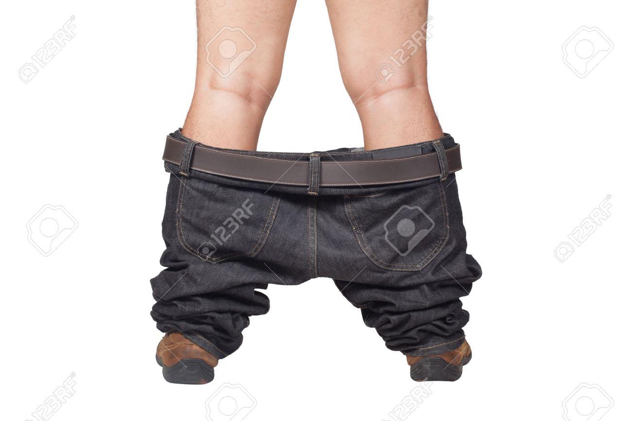 Estremamente Catturato Con I Pantaloni Giù - L'uomo In Scarpe Marroni E Jeans  VC02