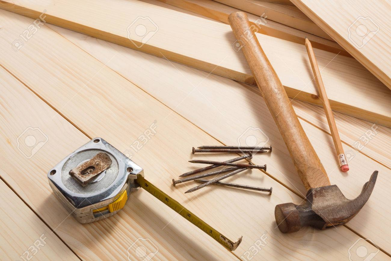 Carpentry tools on wooden background, top view. Empty space for Your text - 82896277