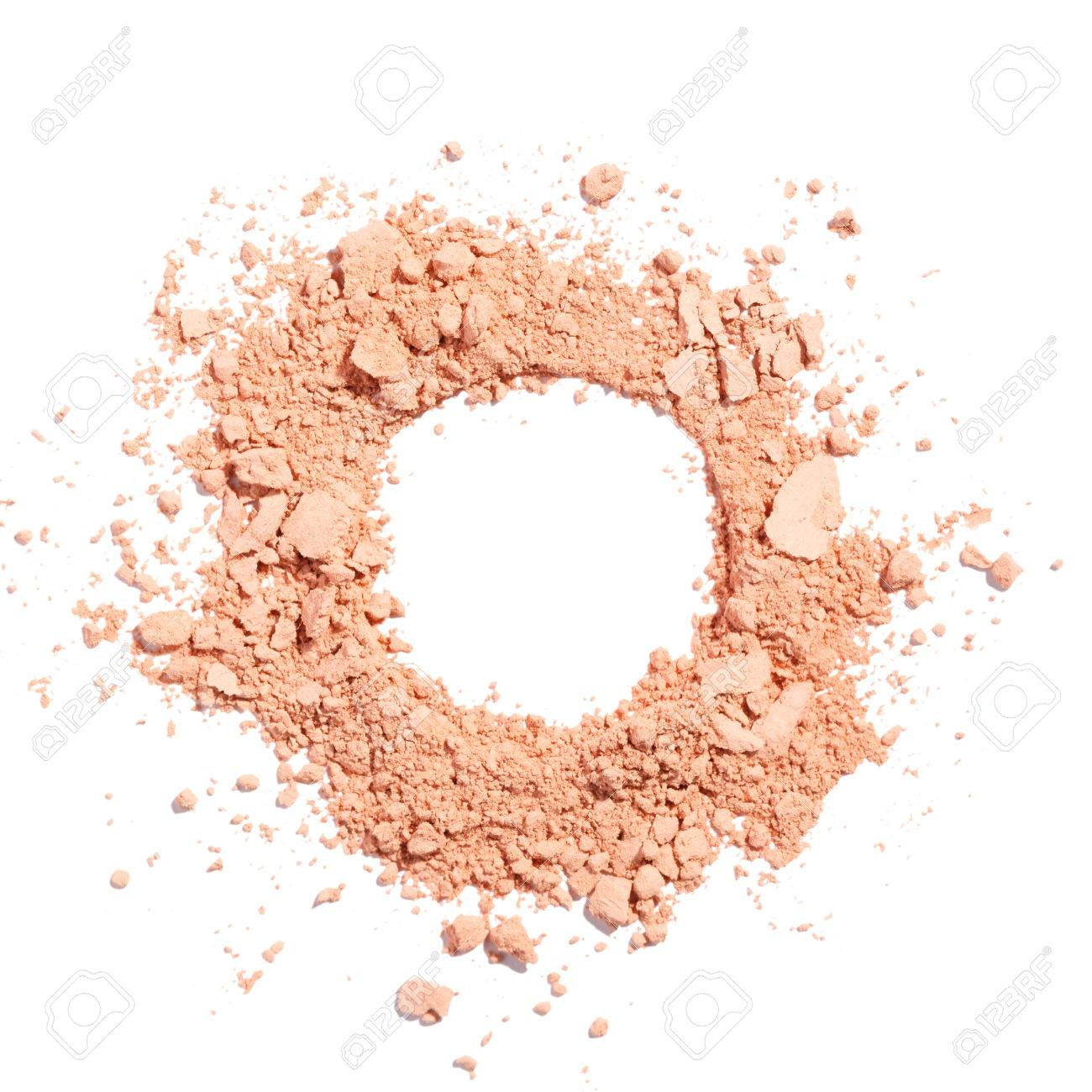 Cosmetic powder beige color crushed blush palette isolated on white - 83976030