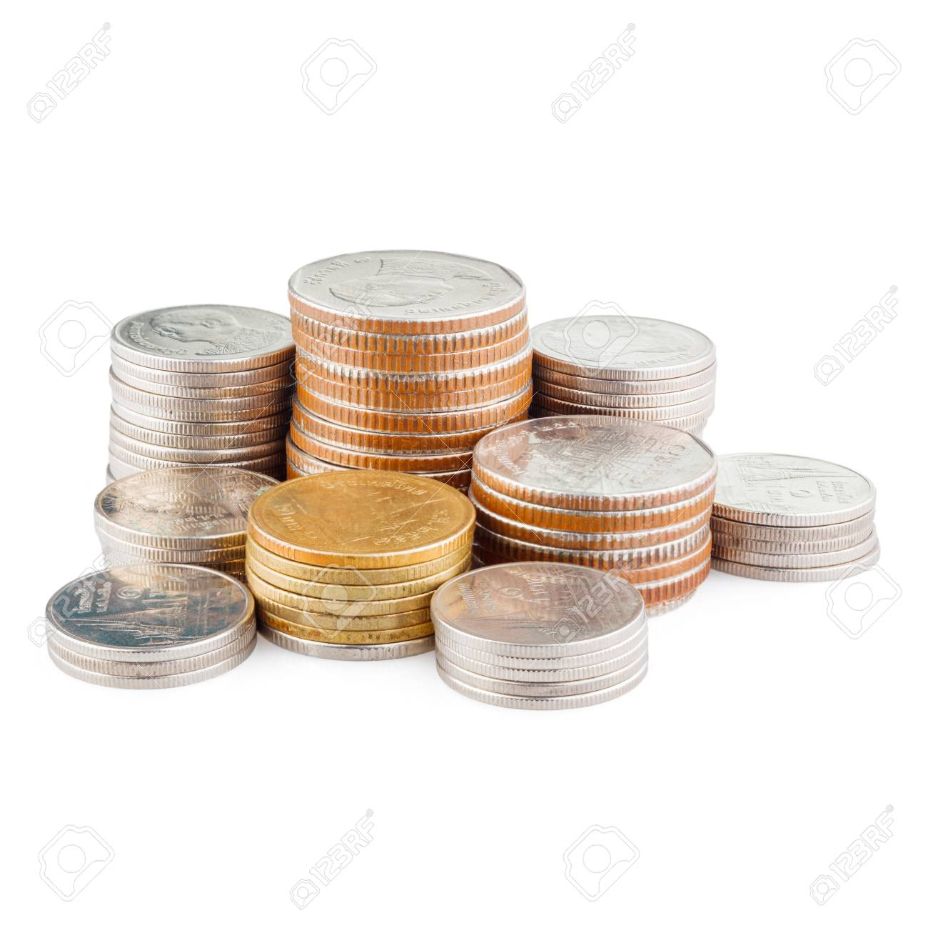 coin stack isolated on white with clipping path - 105338131