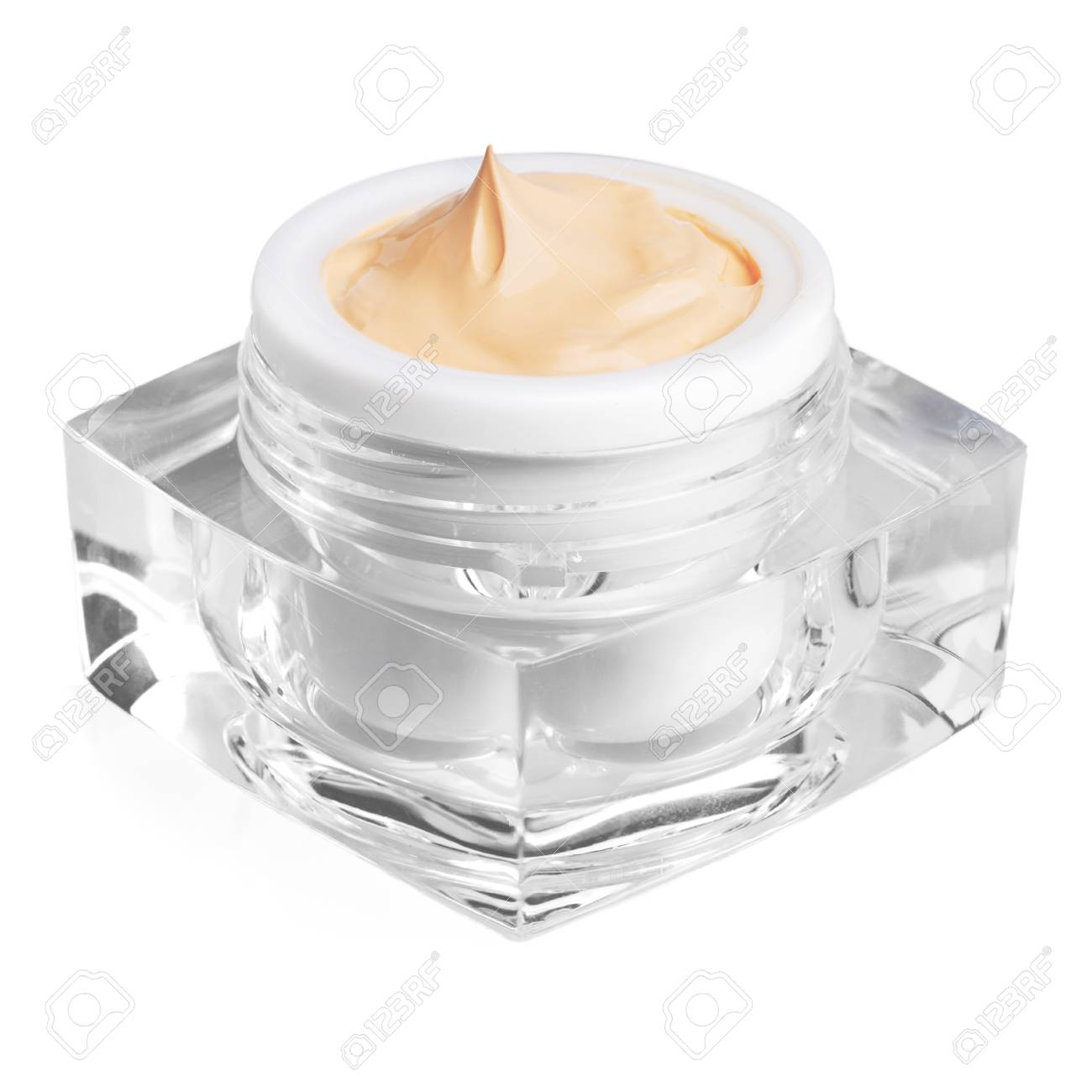 Close up of cosmetic cream container isolated on white background - 105338132