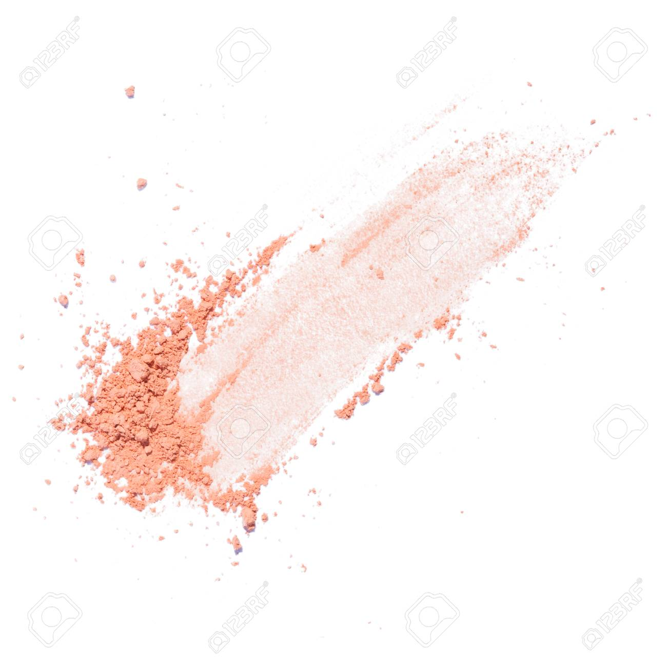 Cosmetic powder beige color crushed blush palette isolated on white - 105338136