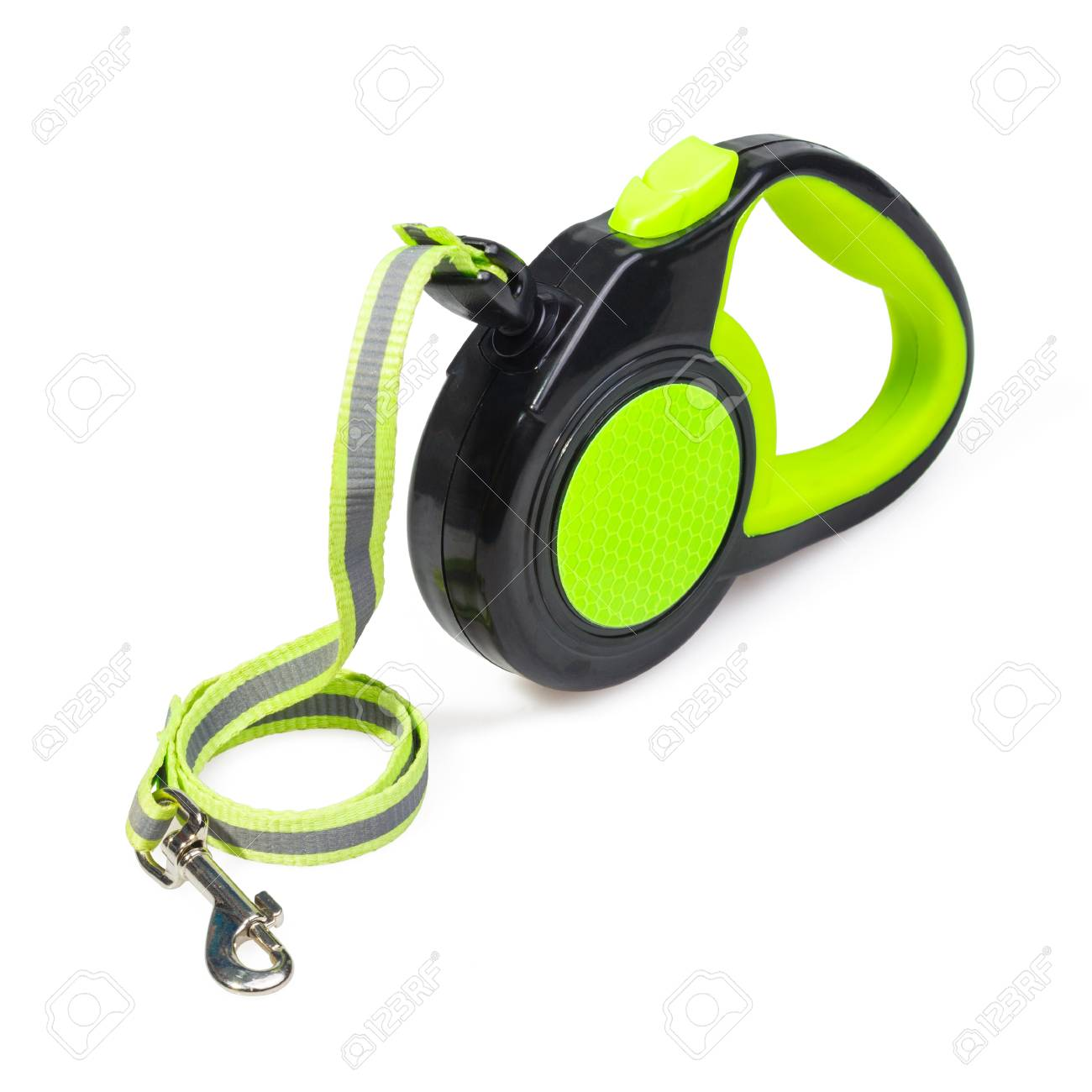 Green/Black retractable leash for dog isolated on white background - 105338138