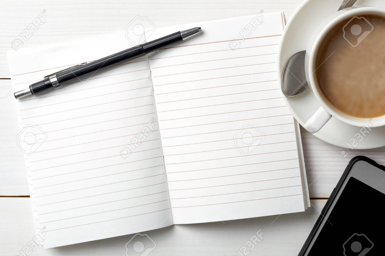 Opened personal organizer with a to do list. on white wooden background. Top view - 105338143