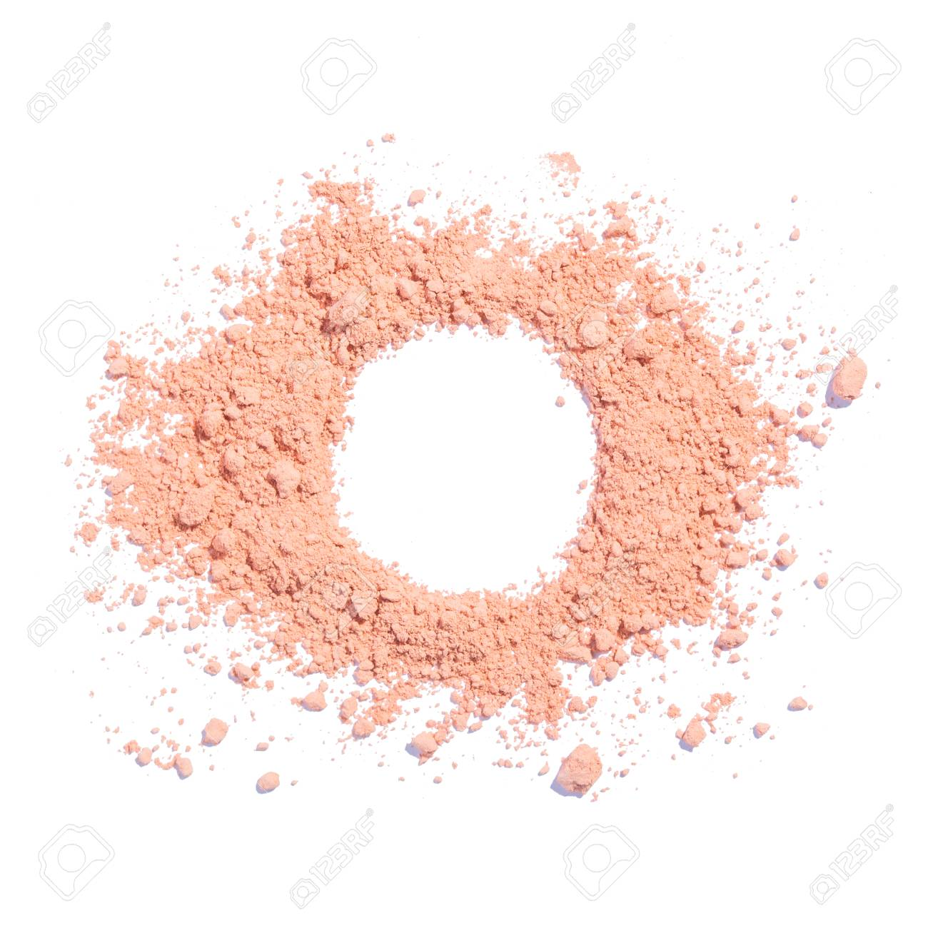 Cosmetic powder beige color crushed blush palette isolated on white - 104939799