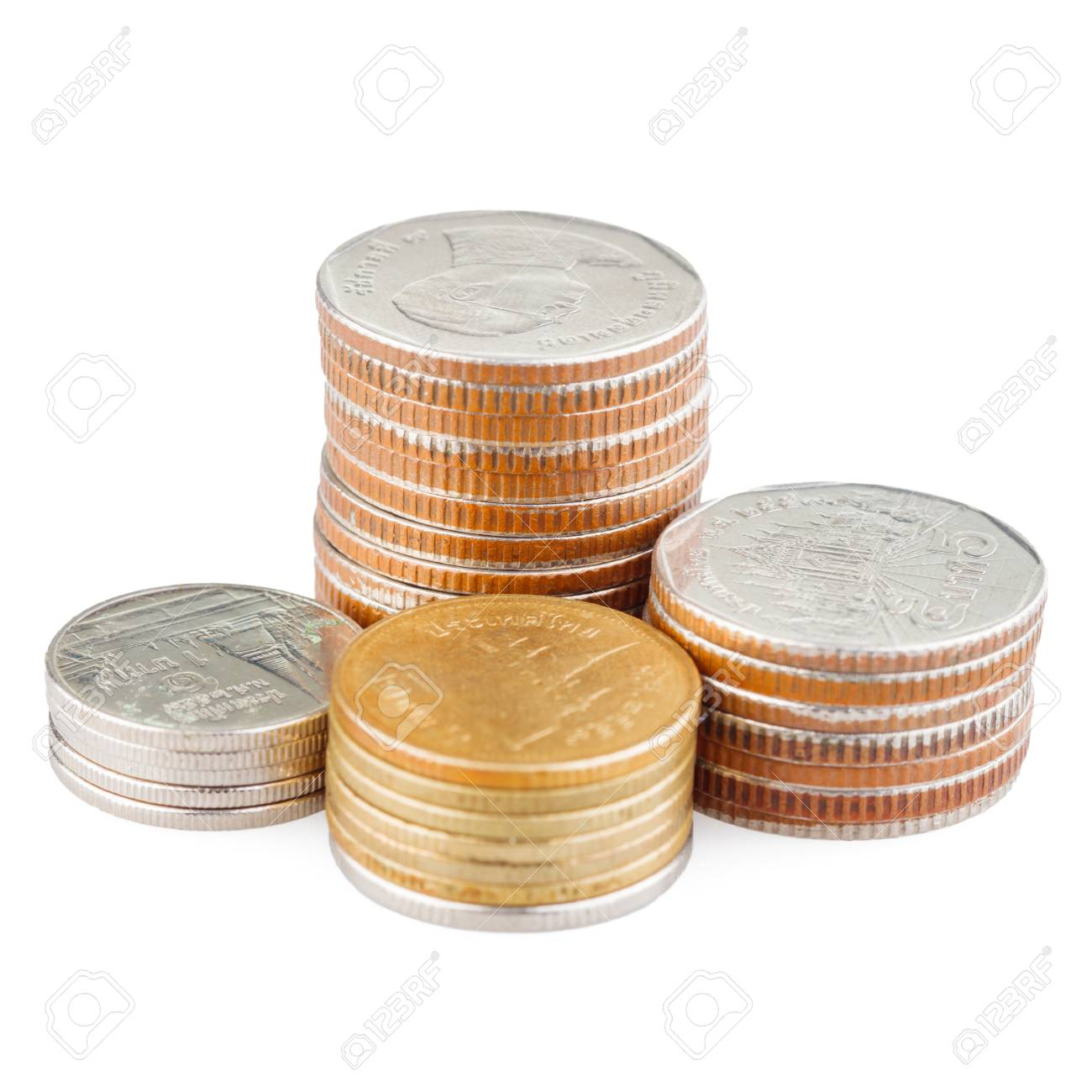 coin stack isolated on white with clipping path - 104939809