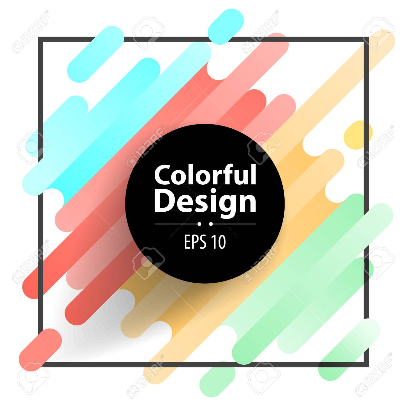 Circle frame and Colorful modern style abstract background - 112082519