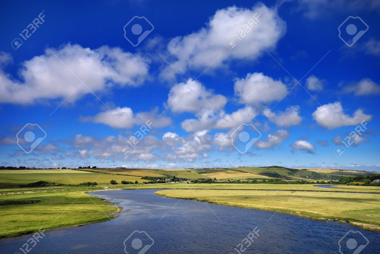 Beautiful summer landscape with a winding river Stock Photo - 3333939