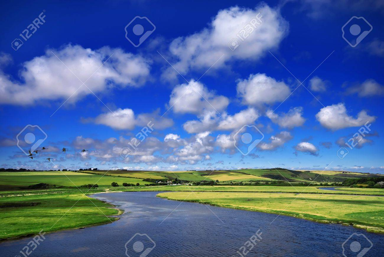 Beautiful spring landscape with a winding river Stock Photo - 4193112