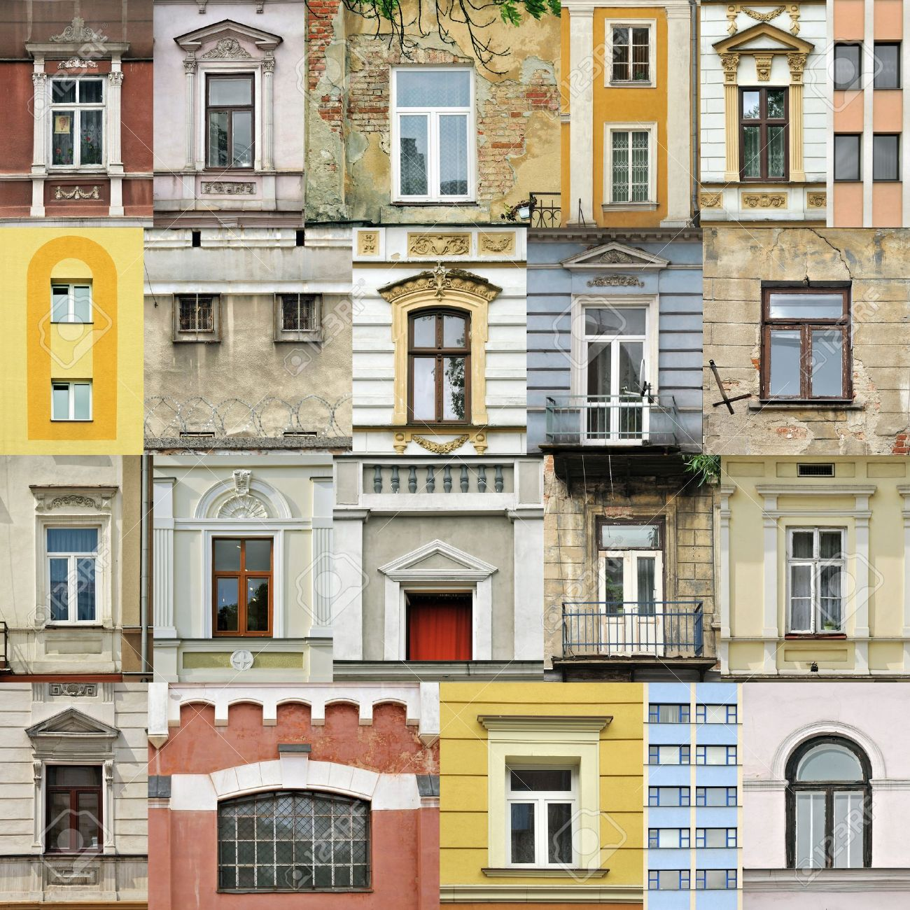 House window frame - Window Frame Assembling Of Different Windows In Different Architectral Styles Stock Photo